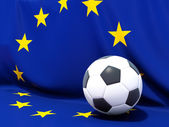 Flag of european union with football in front of it — Stock Photo
