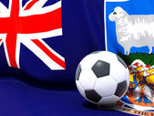 Flag of falkland islands with football in front of it — Stock Photo