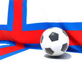 Flag of faroe islands with football in front of it — Stock Photo