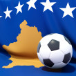 Flag of kosovo with football in front of it — Stock Photo #37960631