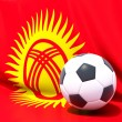 Flag of kyrgyzstwith football in front of it — Stock Photo #37960671