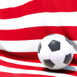 Flag of liberia with football in front of it — Stock Photo
