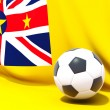 Flag of niue with football in front of it — Stock Photo #37963511