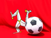 Flag of isle of man with football in front of it — Stockfoto
