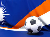 Flag of marshall islands with football in front of it — Stock Photo