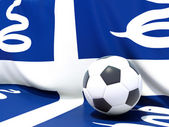 Flag of martinique with football in front of it — Stock Photo