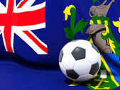 Flag of pitcairn islands with football in front of it — Stock Photo