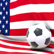 Flag of united states of america with football in front of it — Stock Photo