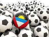 Football with flag of antigua and barbuda — Stock Photo