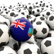 Football with flag of montserrat — Stock Photo