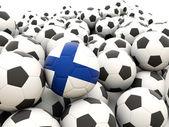 Calcio con bandiera della finlandia — Foto Stock