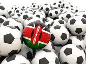 Football avec le drapeau du kenya — Photo