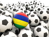 Football with flag of mauritius — Stock Photo