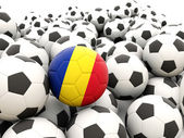 Football with flag of romania — Stock Photo