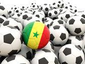 Voetbal met vlag van senegal — Stockfoto