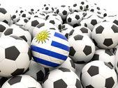 Futbol ile uruguay bayrağı — Stok fotoğraf