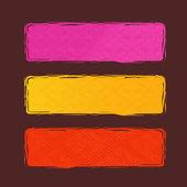 Pancartas en blanco horizontales rojos amarillos rosados — Vector de stock