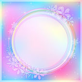 Light Blue Abstract Card with Round Label — Stock Vector