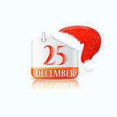 Christmas Calendar Icon with ed Hat — Stock Vector