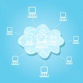 Cloud Computing Network — Stock Vector