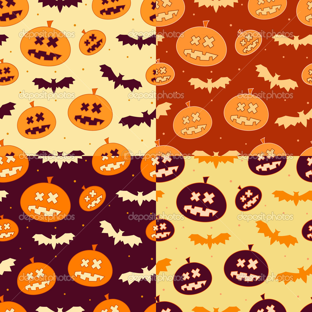 Set of Scary Seamless Pumpkin Patterns for Halloween in October — Stok Vektör #12642030