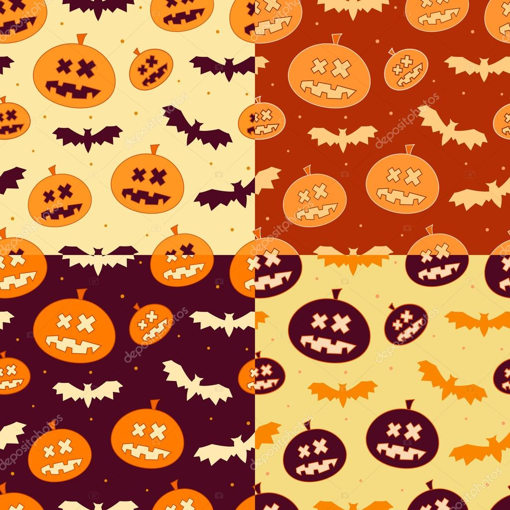 Set of Scary Seamless Pumpkin Patterns for Halloween in October — Imagen vectorial #12642030