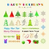 Kerstmis of nieuwjaar vakantie pictogram instellen — Stockvector