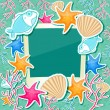 Photo Frame with Fish Starfish Coral and Seashell — Stock Vector