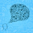 Silhouette of Human Head with Media Icons in Bubble Chat — Stock Vector