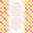 Card with Pink Yellow Stilyzed Flower Pattern — Stockvectorbeeld