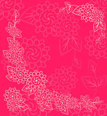 White Flower Silhouettes in Corner on Pink Background — Stock Vector