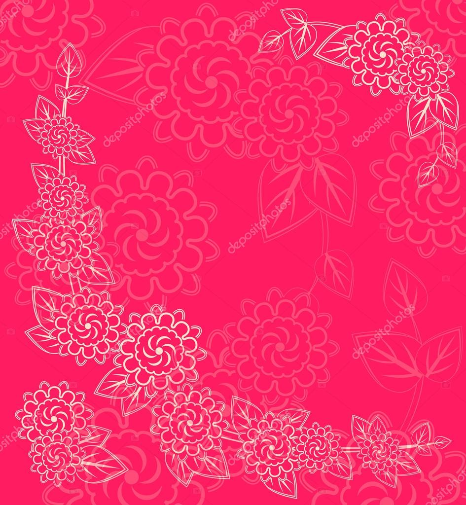 White Flower Silhouettes in Corner on Pink Red Background. Invitation Card  Stock Vector #13477000