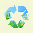 Royalty-Free Stock Vector Image: Recycle Sign with Grass and Sky