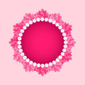 Lotus Round Frame with Pearl Necklace — Stock Vector