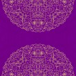 Purple Vintage Card with Two Half Mandala Round Elements — Stock vektor