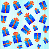 Seamless pattern with blue gift boxes — Vecteur