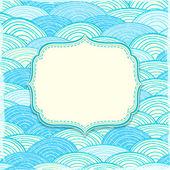 ラベルと海の波とグリーティング カード — ストックベクタ