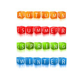 Set of Seasons Winter Spring Autumn Summer Cube Icons — Vetorial Stock