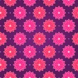 Pink Round Flower on Dark Violet Seamless Pattern — Stock Vector