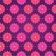 Pink Round Flower on Dark Violet Seamless Pattern — Stock Vector
