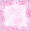 Shiny Pink Square Floral Card Frame — Stock Vector
