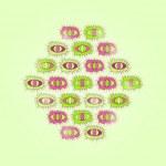 ������, ������: Green Card with Rhombus of Cartoon Eyes