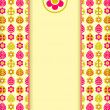 Yellow Pink Retro Card with Leaf Flower Pattern - Vettoriali Stock