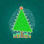 Green Christmas Retro Greeting Card — Stockvector