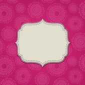 Pink Invitation Card with Blank Label — Stock Vector