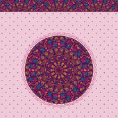 Lila inbjudningskort med runda element — Stockvektor