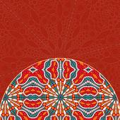Red Half Mandala Decor Element Card — Stock Vector