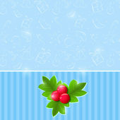 Blue Christmas Invitation Card with Green Leaf and Red Berries O — Stock Vector
