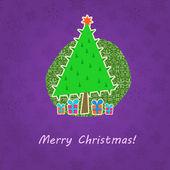 Retro tarjeta de felicitación de navidad — Vector de stock