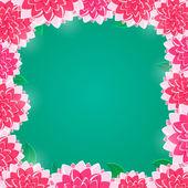 Pink floral frame met glanzende bloemen op groene achtergrond — Stockvector